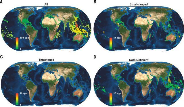 Mapa de distribución de la diversidad biológica de especies